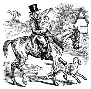 "A man riding a horse whilst carrying an extremely large jar of currant jelly (jam). His dog scampers beside him, looking hopeful that the jar might end of on the ground and the contents in his stomach. From ""Ask Mamma; or The Richest Commoner in England"" by ""The Author of 'Sponge's Sporting Tour' (Robert Smith Surtees)."" Published by Bradbury, Agnew & Co Ltd, London, in 1858. Illustrations by John Leech."